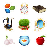 Set icons for Nowruz holiday. Iranian new year. Vector illustration. Nowruz greeting. Iranian new year. Vector illustration Stock Photos