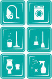 Set icons with objects for cleaning Royalty Free Stock Photo
