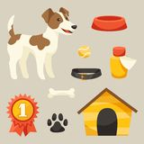 Set of icons and objects with cute dog Stock Images