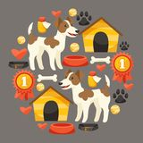 Set of icons and objects with cute dogs Stock Photo