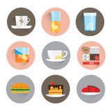 Set icons. Of objects and products for breakfast. It includes tea, coffee, sandwiches, juice and more. Background white Stock Photo