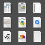 Set of icons office documents in a flat style. Set of icons of office documents in a flat style on a dark gray background Stock Image