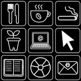 Set of icons (office, food) Stock Photography