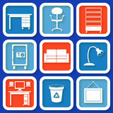 Set of 9 icons with office furniture Royalty Free Stock Image