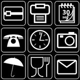 Set of icons (office, work). Set white of icons on a black background Stock Photography
