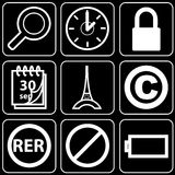 Set of icons (office, work). Set white of icons on a black background Royalty Free Stock Photos