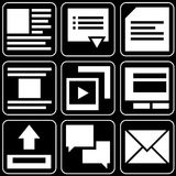 Set of icons (office, work). Set white of icons on a black background Stock Images