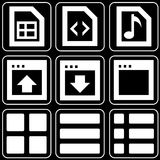 Set of icons (office, work). Set white icons on a black background Royalty Free Stock Photography