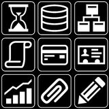 Set of icons (office, work). Set white icons on a black background Royalty Free Stock Photo