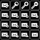 Set of icons (office, work). Set white icons on a black background Stock Photography