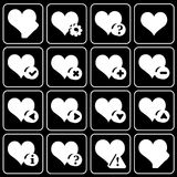 Set of icons (office, work). Set white icons on a black background Stock Images