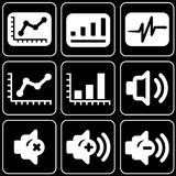 Set of icons (office, work). Set white icons on a black background Royalty Free Stock Photos