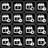 Set of icons (office, work). Set white icons on a black background Royalty Free Stock Images