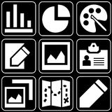 Set of icons (office, work, business). Set white of icons on a black background Stock Photo