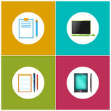 Set Icons for Office Work and Business. Laptop , Notebook with the Pen and a Pencil, Clipboard with a Pencil, Phone , Gadget , the Tablet, Vector Illustration Stock Photos