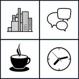 Set Icons  Office Work and Business Life. Isolated, Modern Buildings, Business Center,  Speech Bubble , Cup of Tea or  Cup of Coffee, Wall Clock ,Black and Royalty Free Stock Photography