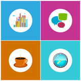 Set Icons  Office Work and Business Life. Modern Buildings, Business Center,  Speech Bubble , Cup of Tea or  Cup of Coffee, Wall Clock , Vector Illustration Stock Photo