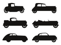 Set icons old retro car black silhouette vector illustration Stock Photos