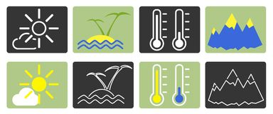 Set of icons in one style. Various temperature between cold and warm vector illustration