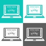 Set of icons. Online casino. playing cards on a laptop monitor. Flat design. Stock Images