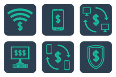 Set of icons about online payments with cifrao symbols dollar s Stock Photo