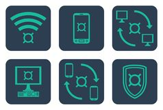Set of icons about online payments with currency symbols. Teal line art icons on rounded blue backdrops Stock Images