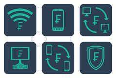 Set of icons about online payments with frank symbols. Teal line art icons on rounded blue backdrops Royalty Free Stock Image