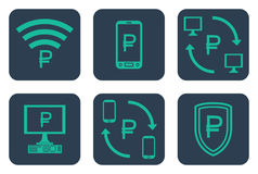 Set of icons about online payments with rouble symbols Royalty Free Stock Images