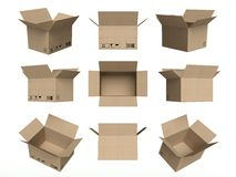 Set of icons, open cardboard boxes isolated white Royalty Free Stock Photo