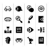 Set icons of ophthalmology and optometry. Isolated on white vector illustration