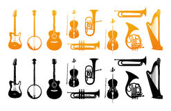 Set Icons of Orchestral Musical Instruments. In Golden and Black Color. Vector Illustrations with Silhouette of Classic, Jazz and Rock Music Instruments Stock Image