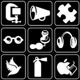 Set of icons (others). Set white icons on a black background Stock Photography