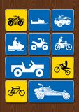 Set of icons of outdoor activities: cycling, motocross, 4x4 vehicle, snowmobile, sand vehicle. Icons in blue color Royalty Free Stock Photography