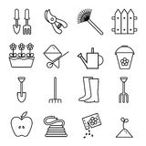 Set icons outline garden. Vector illustrations on white background. Stock Photo
