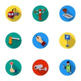 A set of icons for parking cars and bicycles. Fines and elements of parking.Parking zone icon in set collection on flat Royalty Free Stock Image