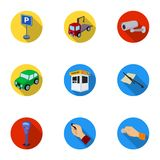 A set of icons for parking cars and bicycles. Fines and elements of parking.Parking zone icon in set collection on flat Stock Image