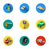 A set of icons for parking cars and bicycles. Fines and elements of parking.Parking zone icon in set collection on flat Royalty Free Stock Photo