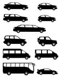 Set Icons Passenger Cars With Different Bodies Black Silhouette Stock Images