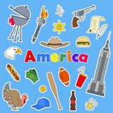 Set of icons  patches on the subject of travel to the country of America color icons on blue background and the inscription Americ. Icons set of patches on the Royalty Free Stock Photography