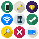 Set of icons, pencil, wifi, cross, card, diamond, vector Stock Image