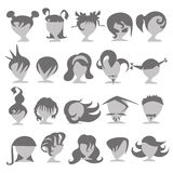 Set of icons of people of different trendy hairstyles. Set of icons of fashionable people Royalty Free Stock Photography