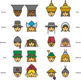 Set of icons of PEOPLE faces from all over the world. This is a set of icons of PEOPLE faces from all over the world Stock Images
