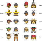 Set of icons of PEOPLE faces from all over the world Stock Image