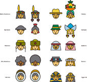 Set of icons of PEOPLE faces from all over the world Stock Photography
