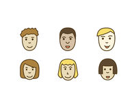 Set  icons people, faces men and women of different races. Stock Photography