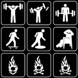 Set of icons (people, fire) Royalty Free Stock Photography