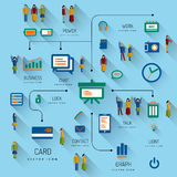 Set Of Icons and people. Flat design illustration. Vector infographic concept with icons set and people. Business and trend of media Stock Images
