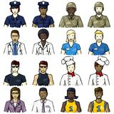 Set of job-related people icons. Set of icons of people representing different professions with a hand drawn look. Graphics are grouped and in several layers for Stock Photo