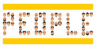 Set of icons with people`s heads. Collection of different charac royalty free illustration