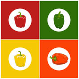 Set of  Icons Pepper Stock Photos